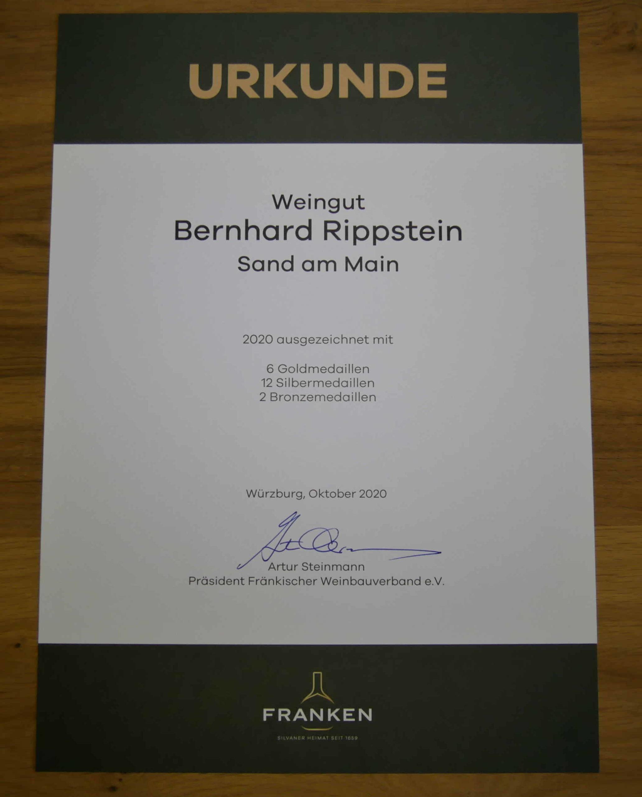 Urkunde Weingut Bernhard Rippstein Fränkische Weinprämierung 2020